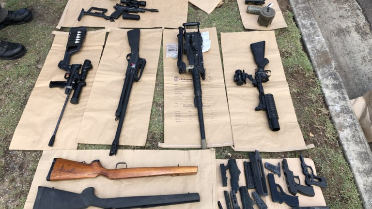 Some of the items allegedly seized from a house at Charlestown in Newcastle.