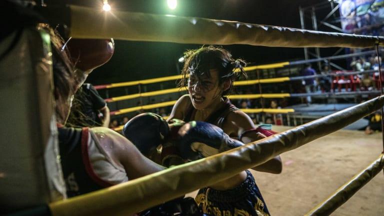 Supattra Inthirat, 12, known as Pancake, during the fight.