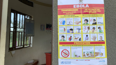 An Ebola-prevention information sign at the Ndaiga Health Centre II near the shores of Lake Albert and the Congo-Uganda border.