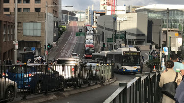 A broken-down bus 506 blocked Druitt St in Sydney's CBD on Thursday morning.