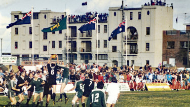 The scene at Coogee Oval in 1988 when Randwick hosted New Zealand.