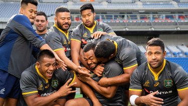 Milestone: The Wallabies celebrate Sekope Kepu's 100th Test ahead of the match against the All Blacks in Yokohama in 2018.