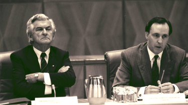 Bob Hawke and Paul Keating at Parliament House in 1991.