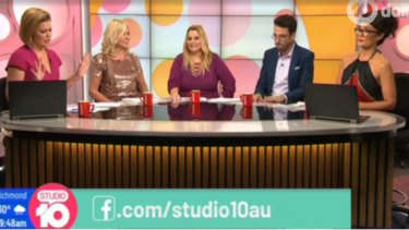 Sarah Harris (far left) tried to interrupt the debate between Kennerley and panellist Yumi Stynes (far right), while Joe Hildebrand and Ajay Rochester (centre) looked uncomfortable.