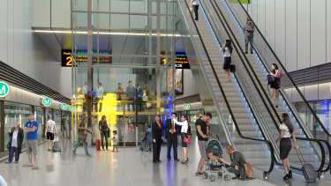 An artist's impression of one of the six stations to be built on the metro rail line to Western Sydney Airport.