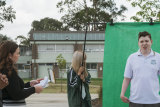ear 9 students from Casula High School, doig. a practice run before filming a series of monologues about the downside of beauty, in front of a green on Thursday as part of the Creativity in Learning program with artist Curly Fernandez. The Opera House has worked with a number of schools across Western and south-west Sydney, to develop creative learning programs (including one that allowed students to take over the curriculum).  Photo shows student Zachary Powell.  The research shows how creative learning approaches help prepare students to thrive in uncertain times particularly relevant for the high school students who have faced the challenges of online learning and disruption of 2020.  Photographed Monday 19th October 2020. Photograph by James Brickwood. SMH ARTS 201019