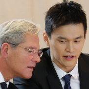 Sun Yang with his legal team at the CAS hearing.