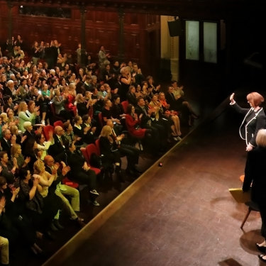 Julia Gillard on stage at a UNSW Centre for Ideas Q&A session at Sydney's Town Hall in May.