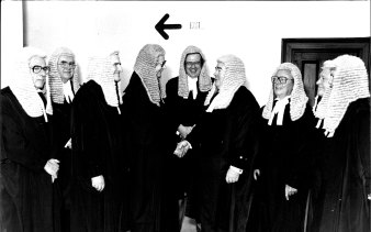 The farewell for Mr Justice Dey in 1981 was attended by premier Neville . Wran at the Industrial Commission.  From left: Justice Perrignon, Justice Macken, Justice Cahill, Justice Dey, Justice Bauer, Justice Fisher, Justice Liddy, Justice Watson and Justice Glynn.