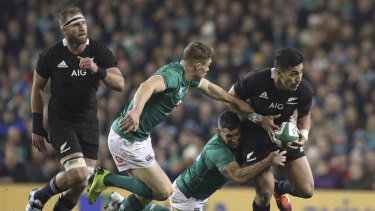 Ferocious defence: The electric Rieko Ioane was well contained in Dublin.