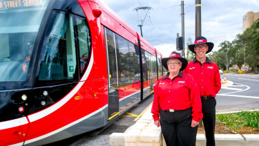 Canberra Metro customer service officers Joanne Meeuwissen and Garry Starling ahead of the planned launch of the light rail on April 20.