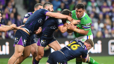 One-man crew: Papalii appears to take on the entire Storm team in the qualifying final.