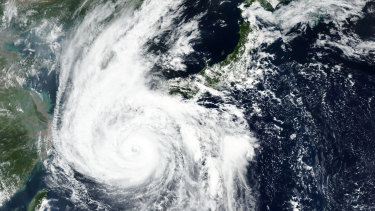 A satellite image shows Typhoon Haishen barreling towards the main southwestern island of Kyushu on Sunday.