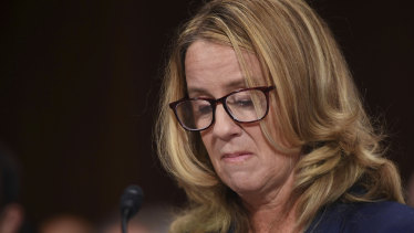 Dr Ford's voice cracked as she recounted being held down on a bed and groped by Brett Kavanaugh.