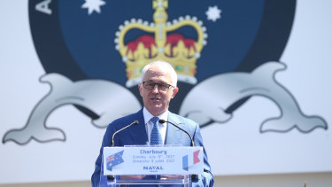 Prime Minister Malcolm Turnbull speaks during a visit to Naval Group Submarine Ship yard in Cherbourg in 2017.