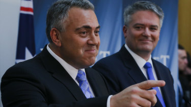 Then Treasurer Joe Hockey and Finance Minister Mathias Cormann during the Budget lock-up in 2015.