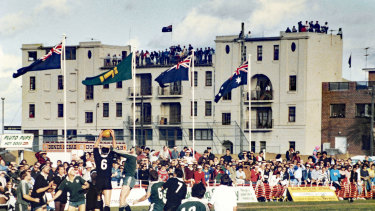 Packed house: Randwick vs New Zealand at Coogee Oval in 1988.