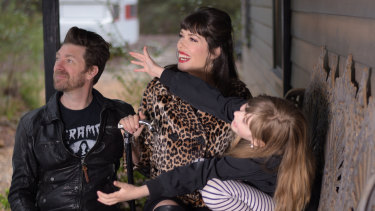 Author and model Tara Moss with her husband Berndt Sellheim and daughter Sapphira, 9.