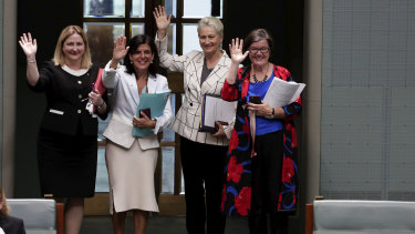 Crossbench MPs Rebekha Sharkie, Julia Banks, Kerryn Phelps and Cathy McGowan exit the chamber.