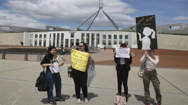 Protesters in support of Nauru refugees outside Parliament House on Tuesday.