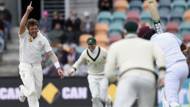 James Pattinson dismisses the West Indies' Darren Bravo in Hobart in December 2015.