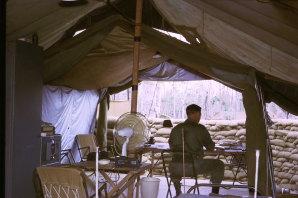 "Don Begg in his ""office"" in Vietnam."