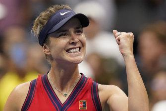 Elina Svitolina after defeating Simona Halep at the US Open.