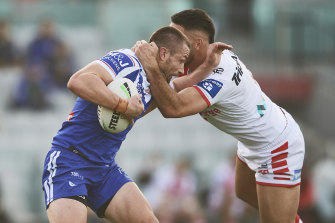 Kieran Foran is stopped at the weekend.