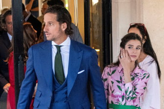 Spanish tennis player Feliciano Lopez and his wife Sandra Gago head to the wedding on Mallorca.