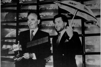 Rupert Murdoch and Alan Sugar at the launch of Sky UK in 1988. Sugar was at the time a major supplier of satellite reception dishes.
