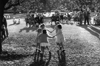 Children dance in the Botanical Gardens, Sydney on May 17, 1959