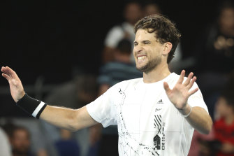 Dominic Thiem celebrates after defeating Nick Kyrgios in five sets.