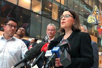Victorian Health Minister Jenny Mikakos addresses media outside the Royal Children's Hospital in Melbourne.