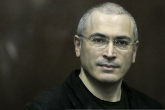 In Alex Gibney's Citizen K, Mikhail Khodorkovsky looks on from behind a glass enclosure during his 2010 courtroom appearance in Moscow.