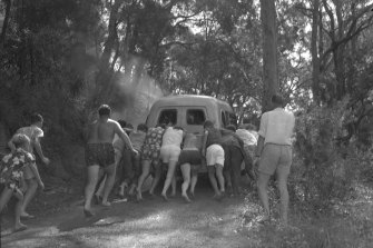 """""""They put her in an ambulance, but because of the steep grade leading up from the water's edge and the slippery surface the ambulance clutch burnt out. Although about 30 people, including Knight, tried desperately to push the vehicle, the grade was too steep. A reporter radioed his office and a second ambulance was sent."""""""