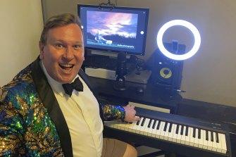 Cabaret artist Trevor Jones in his online studio.