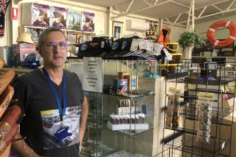 Neville Manson stocks everything from food, doonas and beanies to souvenirs and reading matter for seamen making brief stops in Portland. But for months now they have been unable to set foot in the Mission to Seafarers.