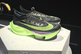 Nike's Air Zoom Alphafly Next% running shoe is displayed at the Nike 2020 Forum in New York.