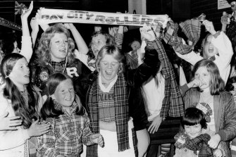 Bay City Rollers' fans waiting in the arrival hall at Sydney airport.