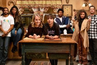 <i>Blindspotting</i> cast members (from left) Colin (Daveed Diggs), Janelle (Candace Nicholas-Lippman),  Rainey (Helen Hunt), Ashley (Jasmine Cephas Jones), Earl (Benjamin Earl Turner), Trish (Jaylen Barron) and Miles Turner (Rafael Casal).