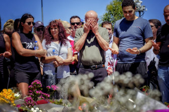 Aiia Maasarwe's father Saeed pays tribute to his daughter outside the Polaris shopping centre in Bundoora in January.