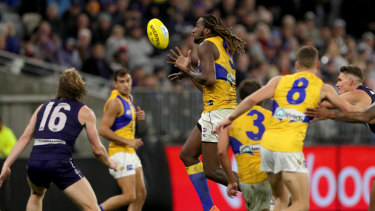 Besides dominating in the ruck, West Coast's Nic Naitanui was a driving force with possessions around the ground.