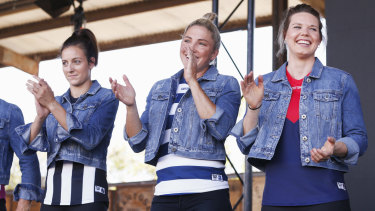 Geelong captain Melissa Hickey (centre) at the AFLW launch on Wednesday.