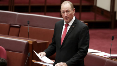 Fraser Anning drew controversy with his first speech in the Senate.