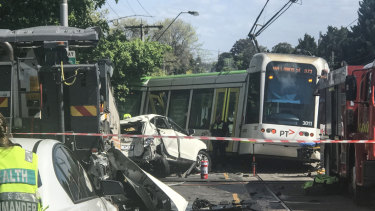 Cotham Rd in Kew, where a tram derailed and smashed through a fence.