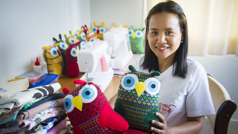 Pakao Sorn and her handmade owls.