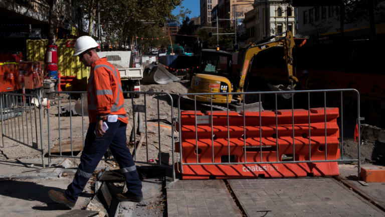 The light rail line from Sydney's CBD to the south east is still far from completed, more than two years after construction began.