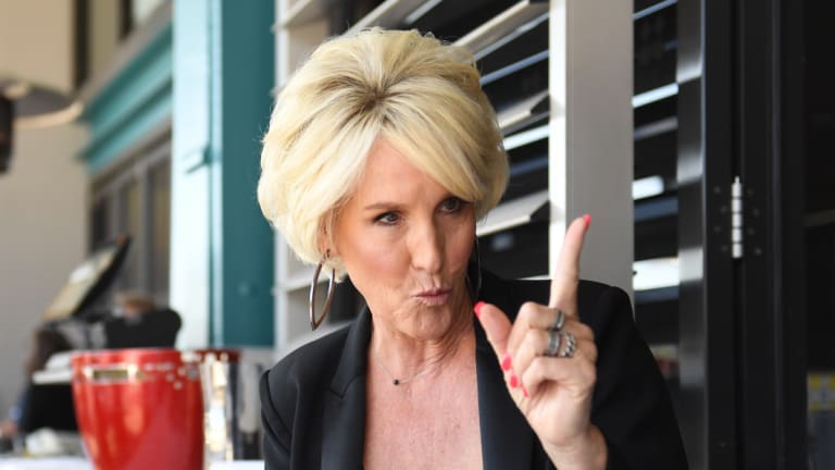 Erin Brockovich at lunch at Otto restaurant, in Woolloomooloo.