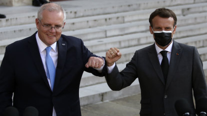 Morrison recruits French President to help get $90bn submarine deal on track