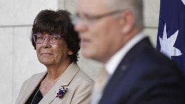 Pat Turner alongside Prime Minister Scott Morrison as they announced the national agreement last July.